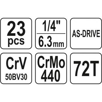 """ZESTAW NARZĘDZIOWY 1/4"""" KPL. 23 SZT."""