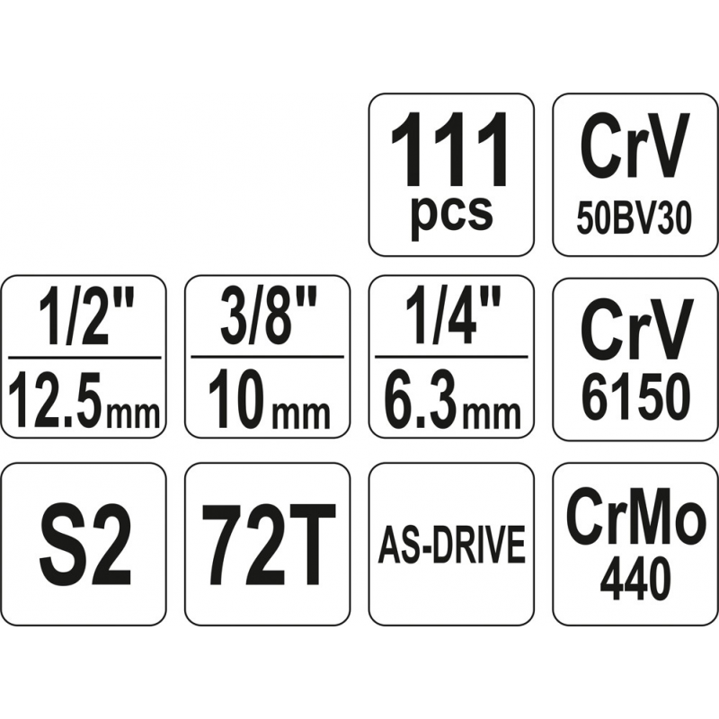 """ZESTAW NARZĘDZIOWY 1/4"""" 3/8"""" 1/2"""" 111CZ. XL"""