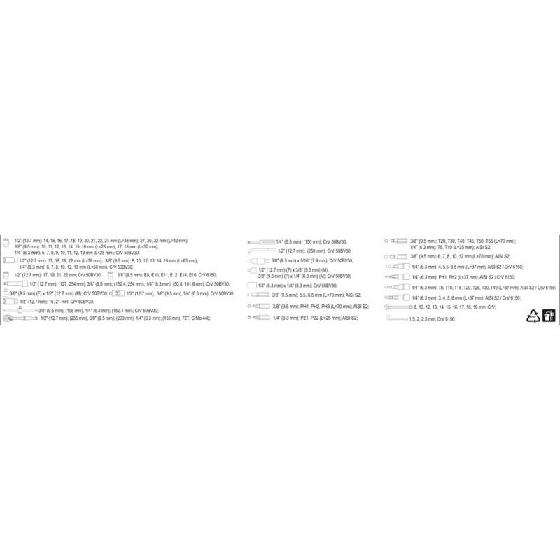 """ZESTAW NARZĘDZIOWY 1/2"""" 128CZ. XL"""