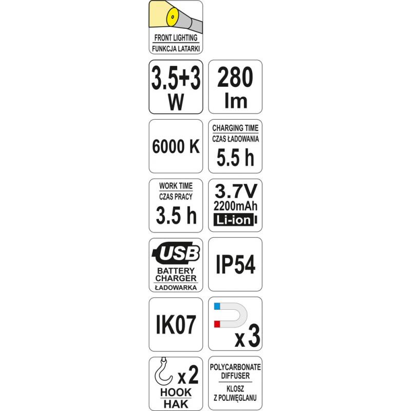 LAMPA WARSZTATOWA SMD LED 3,5W + 3W AKUMULATOROWA