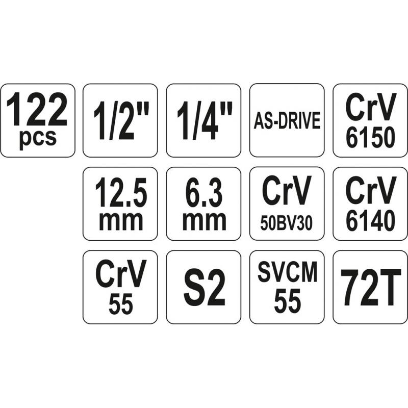 ZESTAW NARZĘDZIOWY 1/4'',1/2'' 122 CZ XXL