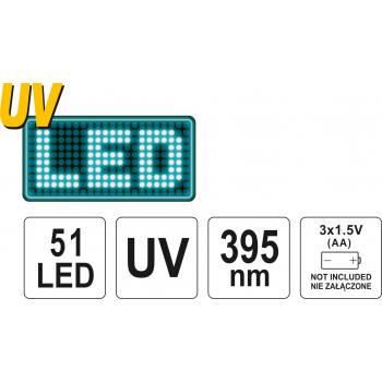 ZESTAW LATARKA UV 51 LED I OKULARY