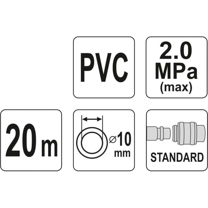 WĄŻ PNEUMATYCZNY ZBROJONY PVC 10MM X 20M Z SZYBKOZŁĄCZAMI