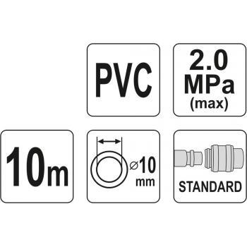 WĄŻ PNEUMATYCZNY ZBROJONY PVC 10MM X10M Z SZYBKOZŁĄCZAMI