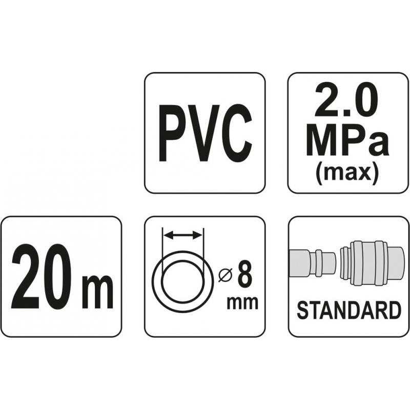 WĄŻ PNEUMATYCZNY ZBROJONY PVC 8MM X 20M Z SZYBKOZŁĄCZAMI