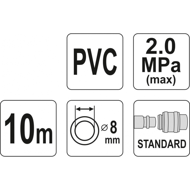 WĄŻ PNEUMATYCZNY ZBROJONY PVC 8MM X 10M Z SZYBKOZŁĄCZAMI