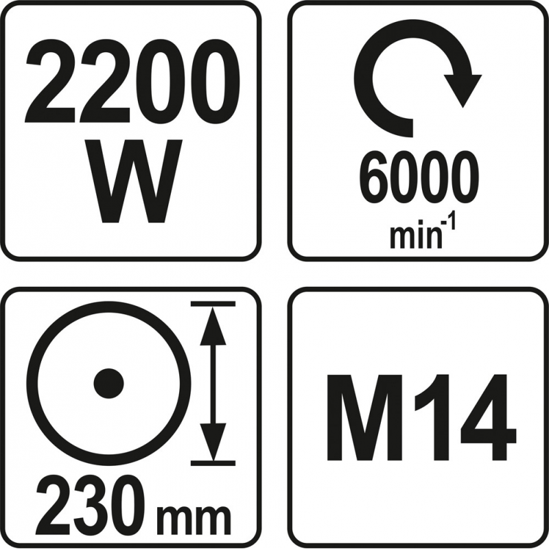 SZLIFIERKA KĄTOWA 2200W 230MM
