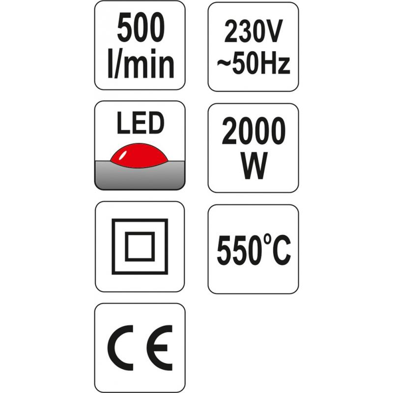 OPALARKA 2000W 50~550°C AKCESORIA WSKAŻNIK LED