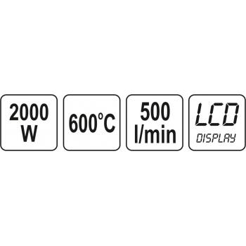OPALARKA 2000W 70~600°C AKCESORIA, WYŚWIETLACZ LCD