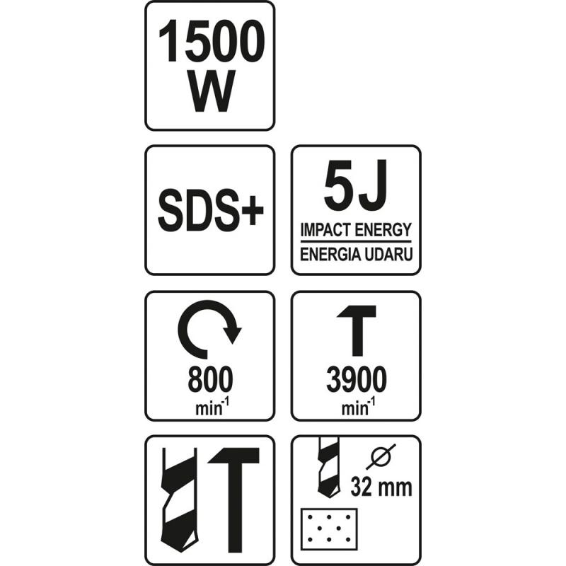MŁOTOWIERTARKA SDS PLUS 1500 W