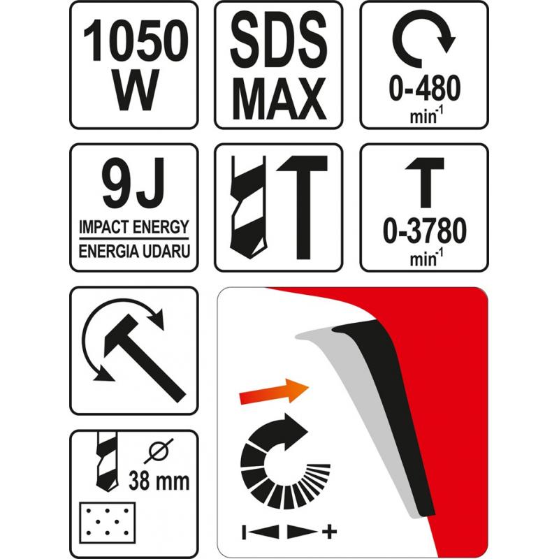 MŁOTOWIERTARKA SDS MAX 1050W