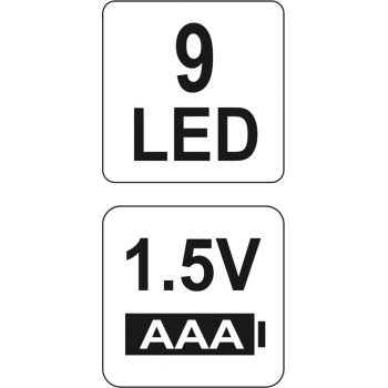 LATARKA ALUMINIOWA, 9 LED, CZARNA