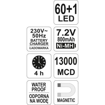 DIODOWA LAMPA WARSZTATOWA 60+1 LED