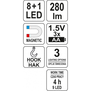 LATARKA WARSZTATOWA 2IN1 LED MAGNET